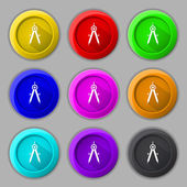 Mathematical Compass sign icon. Set of colored buttons. Vector — Stock Vector