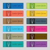 Lichte lamp teken pictogram. Idee symbool. Lightis op. Set van gekleurde knoppen. Vector — Stockvector