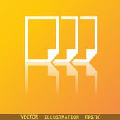 Copy file icon symbol Flat modern web design with reflection and space for your text. Vector — Stock Vector