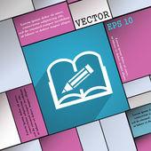 Otwarta Księga ikonę symbolu płaski nowoczesny tkanina mianować rezygnować długi cień i miejsca na tekst. Wektor — Wektor stockowy