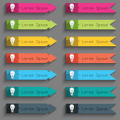 Light lamp sign icon. Idea symbol. Lightis on. Set of colored buttons. Vector — Stock Vector