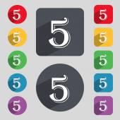Číslo pět ikon. — Stock vektor
