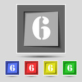 Number six icon sign. — Stock Vector