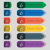 Номер шесть значок знак — Cтоковый вектор