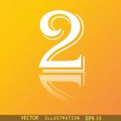 Símbolo do ícone número dois — Vetor de Stock