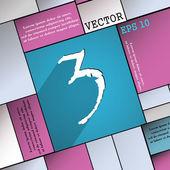 Símbolo do ícone de número três — Vetor de Stock