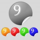 Number Nine icon sign — Stock Vector