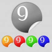 Number Nine icon sign. — Stock Vector