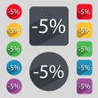 5 percent discount sign icon. Sale symbol. Special offer label. Set of colored buttons Vector — Stock Vector #57588613