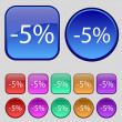 5 percent discount sign icon. Sale symbol. Special offer label. Set of colored buttons Vector — Stock Vector #57588951