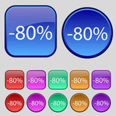 80 percent discount sign icon. Sale symbol. Special offer label. Set of colored buttons Vector — Stock Vector