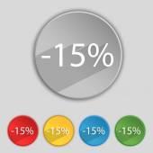 15 procent korting teken pictogram. Verkoop symbool. Speciale aanbieding-label. Aantal gekleurde knoppen Vector — Stockvector