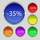 35 percent discount sign icon. Sale symbol. Special offer label. Set of colored buttons Vector — Stock Vector
