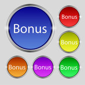 Bonus sign icon. Special offer label. Set of colored buttons. Vector — Stock Vector
