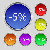 5 percent discount sign icon. Sale symbol. Special offer label. Set of colored buttons Vector — Stockvektor