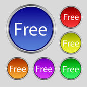 Free sign icon. Special offer symbol. Set of colored buttons. Vector — Stockvektor