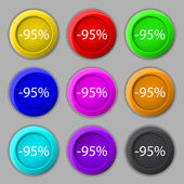 95 percent discount sign icon. Sale symbol. Special offer label. Set of colored buttons Vector — Stock Vector