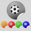 Football ball sign icon. Soccer Sport symbol. Set colourful buttons. — Stock Photo #58099047