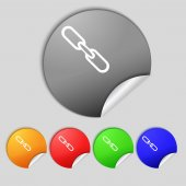Link sign icon. Hyperlink chain symbol. Set colourful buttons.  — Stock Photo