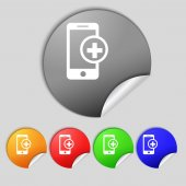 Mobile devices sign icon. with symbol plus. Map pointers information buttons Speech bubbles icons  — Stock Photo