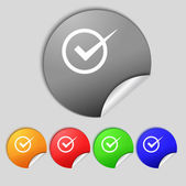 Check mark sign icon. Checkbox button. Set colur buttons. — Stock Photo