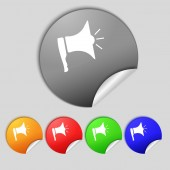 Megaphone soon icon. Loudspeaker symbol. Set colur buttons.  — Stock Photo