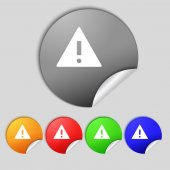 Attention sign icon. Exclamation mark. Hazard warning symbol. Set colourful buttons  — Stock Photo