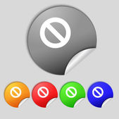 Stop sign icon. Prohibition symbol. No sign. Set colourful buttons.  — Stock Photo