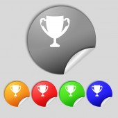 Winner cup sign icon. Awarding of winners symbol. Trophy. Set colourful buttons  — Stock Photo