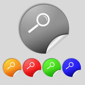Magnifier glass sign icon. Zoom tool button. Navigation search symbol. Set colourful buttons.  — Foto Stock