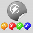 Photo flash sign icon. Lightning symbol. Set of colour buttons. — Stock Photo #58100295