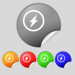 Photo flash sign icon. Lightning symbol. Set of colour buttons. — Stock Photo #58100327
