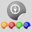 Compass sign icon. Windrose navigation symbol. Set colourful buttons. Vecto — Stock Photo #58100761