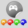 Joystick sign icon. Video game symbol. Set colourful buttons.  — Stock Photo #58100845