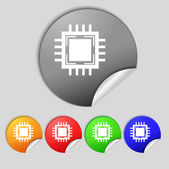Central Processing Unit Icon. Technology scheme circle symbol. Set colourful buttons. — Stock Photo