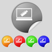 Usb flash drive and monitor sign icon. Video game symbol. Set colourful buttons.  — Stock Photo