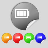 Battery fully charged sign icon. Electricity symbol. Set of colour buttons. Modern interface website button — Stock Photo