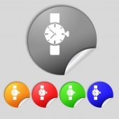 Wrist Watch sign icon. Mechanical clock symbol. Set colourful buttons.  — Stock Photo