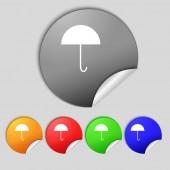 Umbrella sign icon. Rain protection symbol. Set colourful buttons.  — Stock Photo