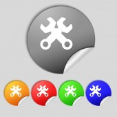 Wrench key sign icon. Service tool symbol. Set colourful buttons.  — Stock Photo