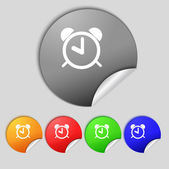 Alarm clock sign icon. Wake up alarm symbol. Set colourful buttons.  — Stock Photo