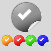 Check mark sign icon . Confirm approved symbol. Set colourful buttons.  — Stock Photo