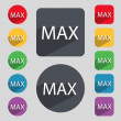 Maximum sign icon. Set of colored buttons. Vector — Stock Vector #58936261