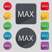 Maximum sign icon. Set of colored buttons. Vector — Stock Vector