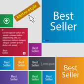 Best seller sign icon. Best-seller award symbol. Set of colored buttons. Vector — Stock Vector