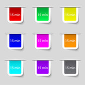 Fifteen minutes sign icon. Set of colored buttons. Vector — Stock Vector