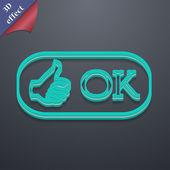OK icon symbol. 3D style. — Stock Vector