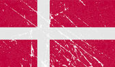 Flag of Denmark with old texture. Vector — Stock Vector
