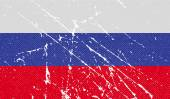 Flag of Russia with old texture. Vector — Stock Vector