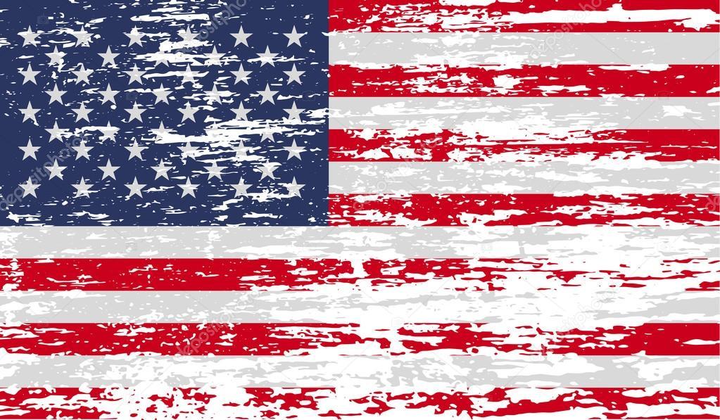Bandera De Estados Unidos Con Textura Antigua. Vector De